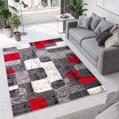 DREAM Teppich Kurzflor Modern Grau Rot Creme Karo Retro