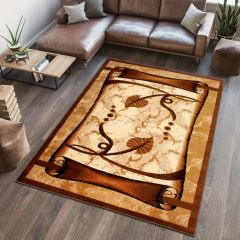 DORIAN Modern Area Rug Short Pile Abstract Leaves Beige Brown
