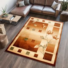 DORIAN Modern Area Rug Short Pile Squares Flower Brown Beige