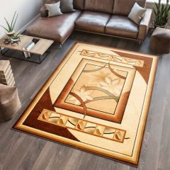 DORIAN Modern Area Rug Short Pile Abstract Flowers Cream Brown