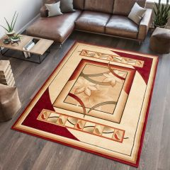 DORIAN Modern Area Rug Short Pile Abstract Floral Beige Red