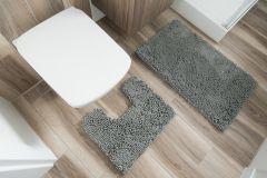 CHENILLE Non-Slip Bathroom Bath Shower Washable Mat 2PCS Grey 50 x 80 cm (1ft8