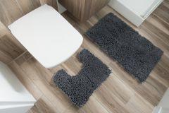 CHENILLE Non-Slip Bathroom Bath Shower Washable Mat 2PCS Dark Grey 50 x 80 cm (1ft8