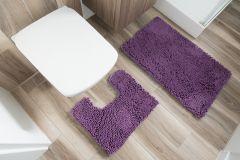 CHENILLE Non-Slip Bathroom Bath Shower Washable Mat 2PCS Purple 50 x 80 cm (1ft8