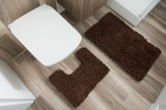 CHENILLE Non-Slip Bathroom Bath Washable Mat 2PCS Coffee Brown 50 x 80 cm (1ft8