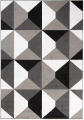 MAYA Area Rug Modern Short Pile Geometric Shapes Grey Black