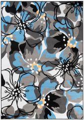 MAYA Vloerkleed Tapijt Grijs Blauw Abstract Bloemen Modern Trendy