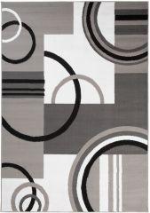 MAYA Vloerkleed Tapijt Grijs Wit Abstract Cirkels Praktisch Trendy