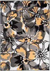MAYA Vloerkleed Tapijt Grijs Geel Kleurrijk Abstract Bloemen Modern