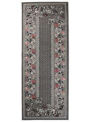 Dream Läufer Teppich Kurzflor Grau Rot Karo Floral