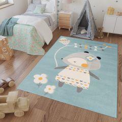 CAN Area Rug Kids Room Bedroom Mouse Kite Children Light Blue