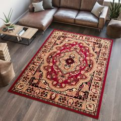 ATLAS Area Rug Traditional Short Pile Medallion Beige Burgundy