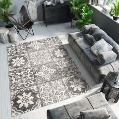 ETHNO Area Rug Mosaic Tiles Aztec Durable Carpet Black Cream