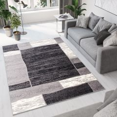 DREAM Area Rug Modern Short Pile Frame Geometric Wavy Grey