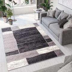 DREAM Teppich Modern Grau Creme Schwarz Kurzflor Viereck Meliert