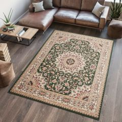 ATLAS Area Rug Traditional Short Pile Rosette Frame Green