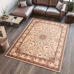 ATLAS Tapis Traditionnel Floral Rosaces Bordé Beige Marron Doux
