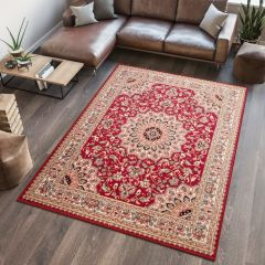 ATLAS Area Rug Traditional Short Pile Rosette Frame Red Beige