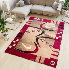 ATLAS Area Rug Modern Abstract Contemporary Short Pile Beige Red