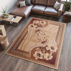 ATLAS Area Rug Modern Short Pile Flower Greek Dark Beige