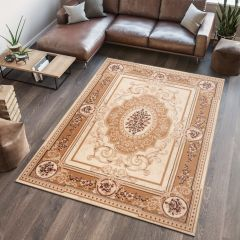 ATLAS Area Rug Medallion Traditional Decorative Cream Beige