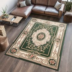 ATLAS Area Rug Traditional Short Pile Medallion Frame Green