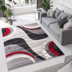 DREAM Area Rug Modern Short Pile Grey Red Abstract Waves