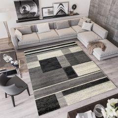 QMEGA Teppich Modern Kurzflor Meliert Schwarz Grau Creme Vierecke