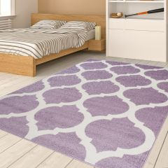HAPPY Area Rug Modern Short Pile Moroccan Trellis Purple Lilac