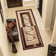 ATLAS Modern Carpet Runner Short Pile Abstract Hallway Beige Brown