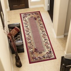 ATLAS Carpet Runner Short Pile Traditional Hallway Floral Red