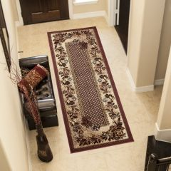 ATLAS Carpet Runner Short Pile Traditional Hallway Floral Brown