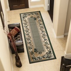 ATLAS Carpet Runner Short Pile Traditional Hallway Floral Green