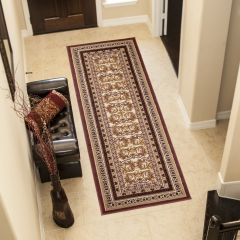 ATLAS Carpet Runner Short Pile Traditional Ornamental Brown