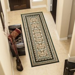 ATLAS Carpet Runner Short Pile Traditional Ornamental Green