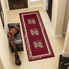 ATLAS Modern Carpet Runner Short Pile Hallway Floral Greek Red