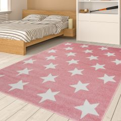 HAPPY Area Rug Modern Short Pile Youth Kids Stars Pink