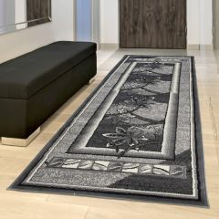 DREAM Carpet Runner Modern Floral Frame Hallway Light Dark Grey