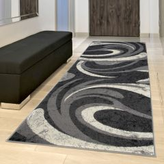 DREAM Carpet Runner Modern Abstract Wavy Durable Light Dark Grey