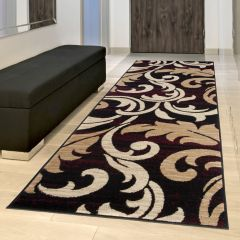 DREAM Carpet Runner Modern Vintage Floral Hallway Brown Burgundy