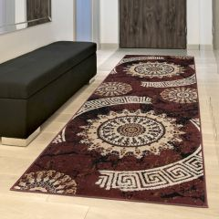DREAM Carpet Runner Classic Decorative Greek Hallway Brown Beige
