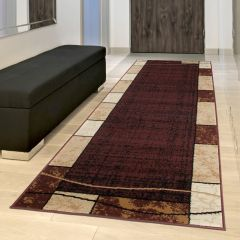DREAM Tapis de Passage Moderne Moucheté Bordé Marron Beige Fin