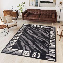DREAM Teppich Modern Kurzflor Grau Creme Schwarz Afrika Design