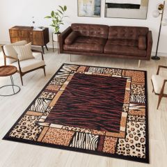 ATLAS Tapis Moderne Peau d'Animal Sauvage Bordé Marron Beige Fin