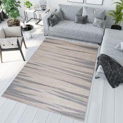 SARI Teppich Kurzflor Modern Beige Grau Streifen Design Meliert