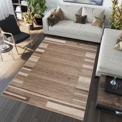 SARI Teppich Kurzflor Modern Beige Braun Streifen Design Meliert