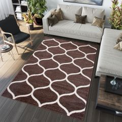 SARI Area Rug Modern Contemporary Short Pile Round Trellis Dark Brown