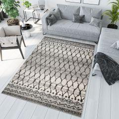Sari Teppich Kurzflor Modern Creme Grau Geometrisch Karo Design