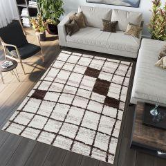 SARI Teppich Modern Kurzflor Karo Design Creme Braun Meliert