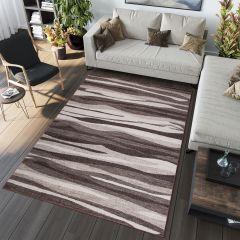 SARI Area Rug Modern Short Pile Stripes Waves Beige Brown
